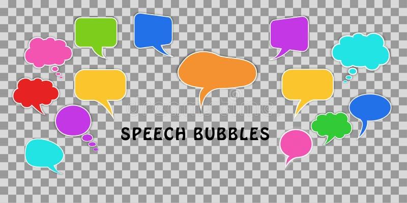 Concetto di comunicazione Metta dei fumetti variopinti comici di dialogo isolati su fondo trasparente illustrazione di stock
