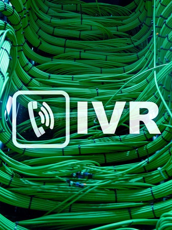 Concetto di comunicazione di risposta vocale interattiva di IVR Stanza del server fotografia stock