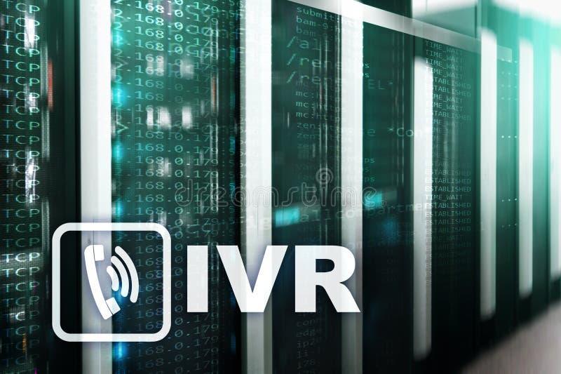 Concetto di comunicazione di risposta vocale interattiva di IVR Stanza del server fotografie stock libere da diritti
