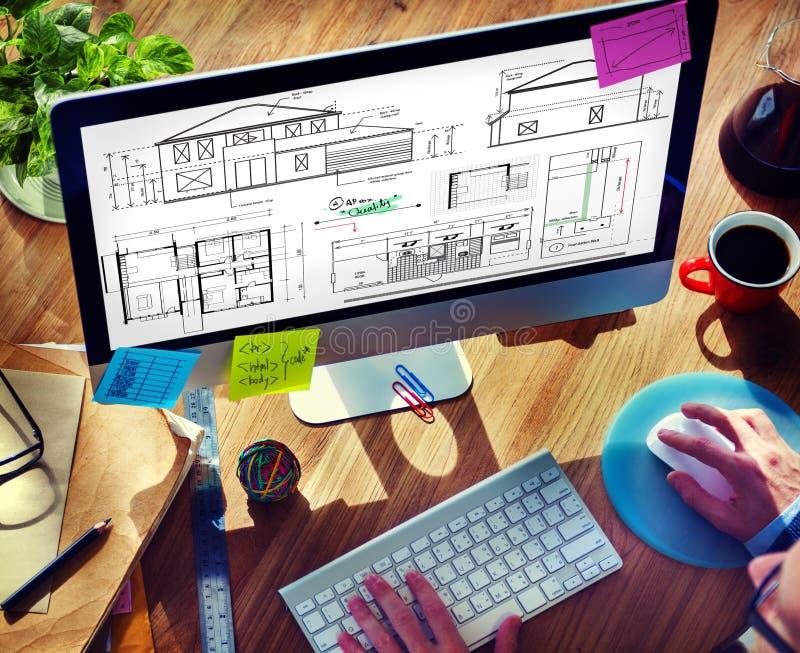 Concetto di Construction Project Sketch dell'architetto del modello fotografie stock libere da diritti