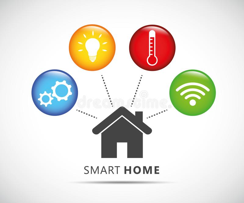 Concetto di controllo domestico astuto infographic con il sistema di tecnologia royalty illustrazione gratis