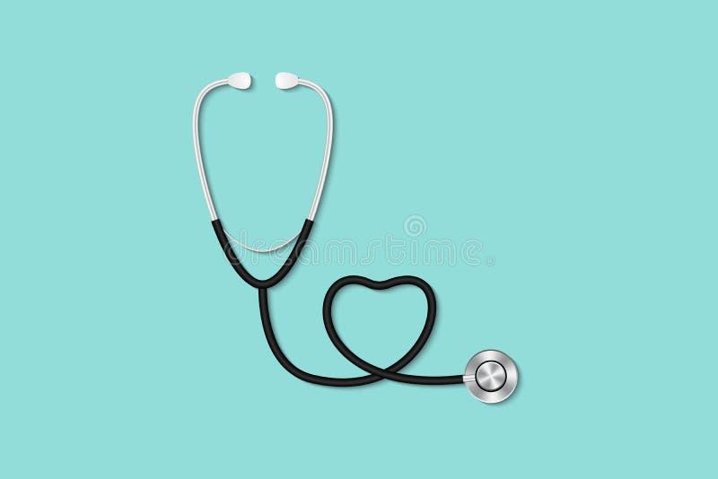 Concetto di controllo di salute, area di lavoro da tavolino del ` s di medico con stethosc illustrazione di stock