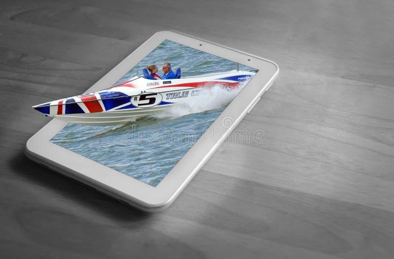 Concetto di corsa della compressa della barca dei watersports della corsa di regata del motoscafo illustrazione vettoriale