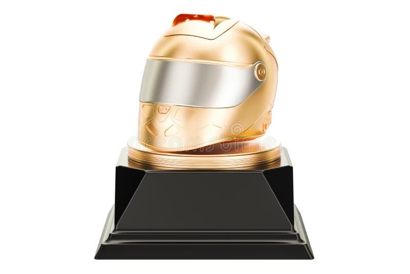 Concetto di corsa dorato del premio del casco, rappresentazione 3D illustrazione vettoriale