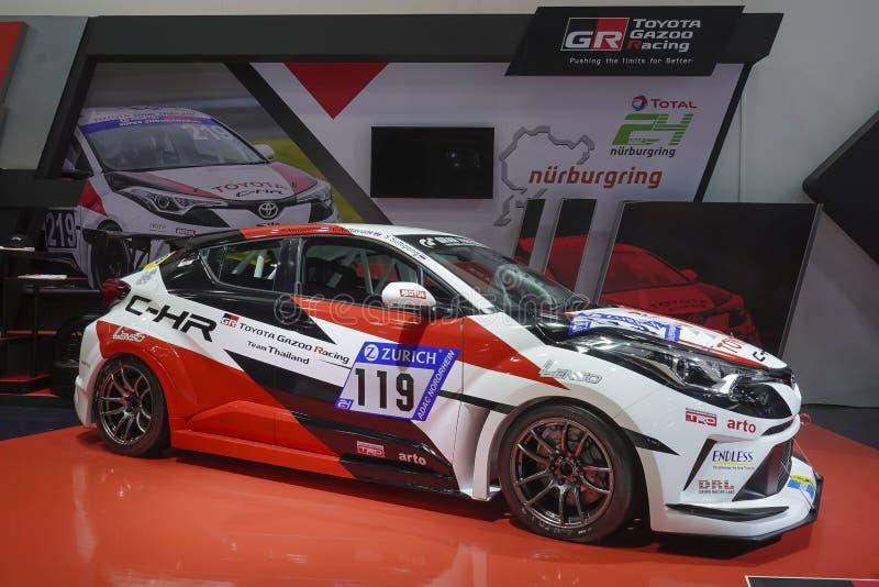 Concetto di corsa di Oyota C-HR del GR o di Toyota Gazoo che corre Team Thailand su esposizione nel quarantesimo salone dell'auto fotografia stock