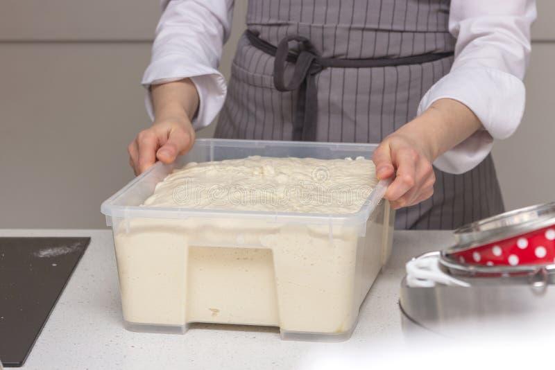 Concetto di cottura Le donne lavorarici dure prepara la pasticceria solo, impasta la pasta sul contatore di legno con farina ed i immagine stock libera da diritti