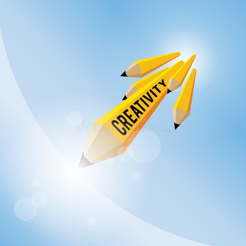 Concetto di creatività della matita illustrazione di stock