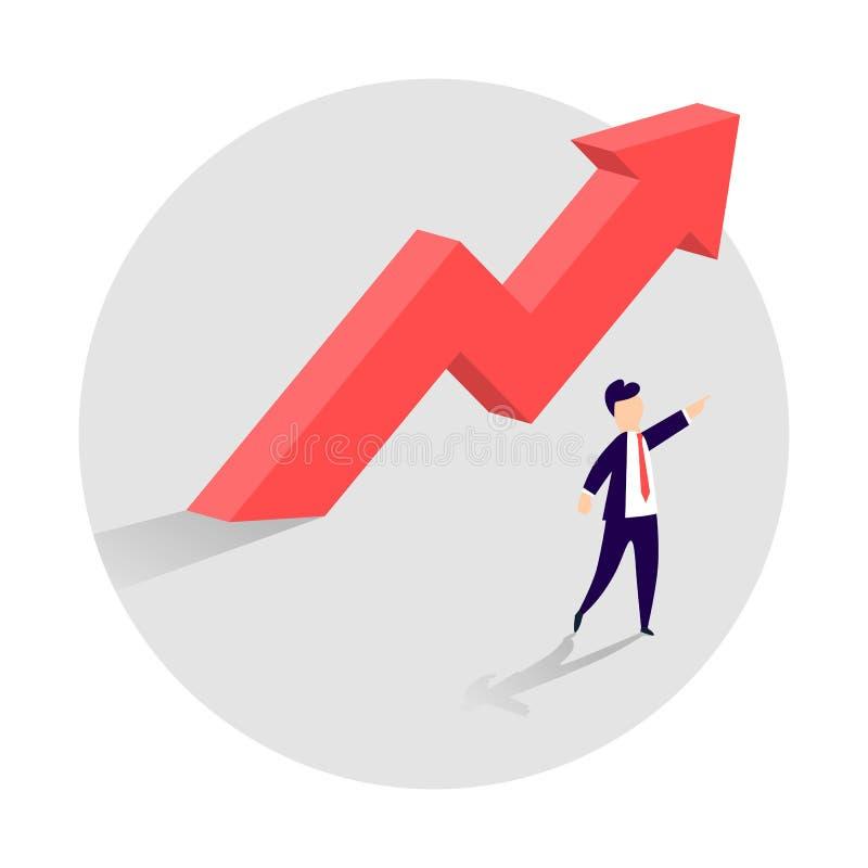 Concetto di crescita di affari con una freccia ascendente e un uomo d'affari che mostrano la direzione Simbolo di successo, risul illustrazione vettoriale