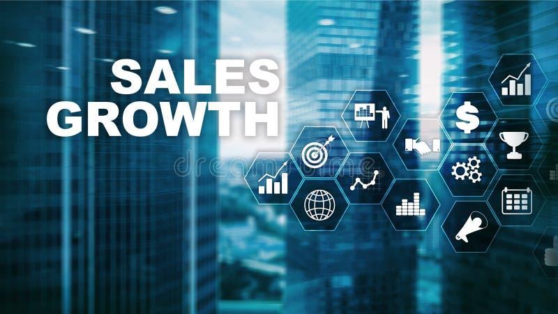 Concetto di crescita del grafico Le vendite aumentano, strategia di marketing Doppia esposizione con il grafico commerciale immagini stock