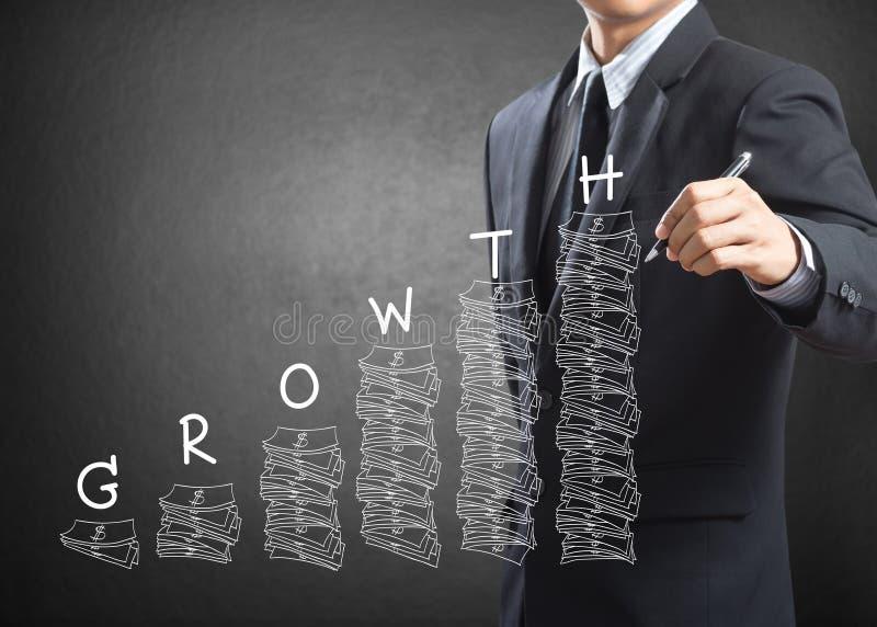 Concetto di crescita di scrittura dell'uomo di affari immagine stock libera da diritti
