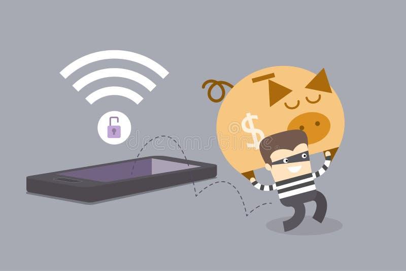 Concetto di crimine del telefono cellulare illustrazione vettoriale