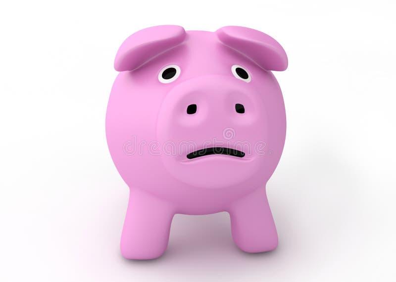 Concetto di crisi di fallimento - porcellino salvadanaio triste illustrazione vettoriale
