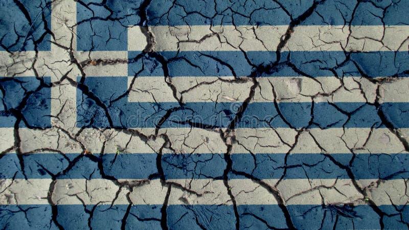 Concetto di crisi politica: Crepe del fango con la bandiera della Grecia fotografia stock libera da diritti