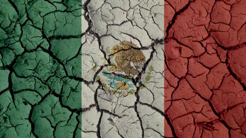 Concetto di crisi politica: Crepe del fango con la bandiera del Messico immagine stock libera da diritti