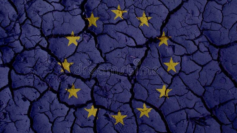 Concetto di crisi politica: Crepe del fango con la bandiera di UE immagini stock libere da diritti