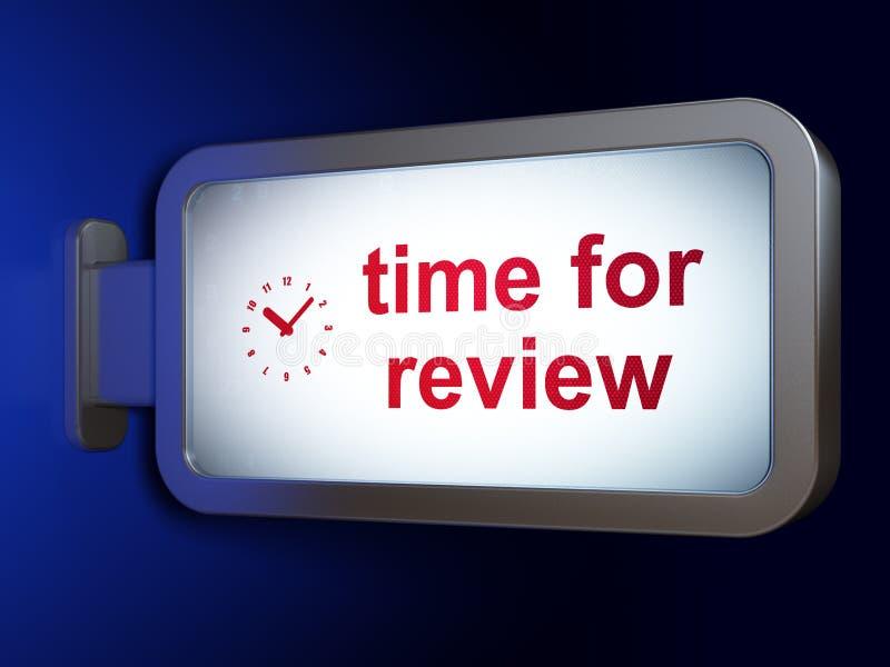 Concetto di cronologia: Tempo per la rassegna ed orologio sul fondo del tabellone per le affissioni illustrazione vettoriale