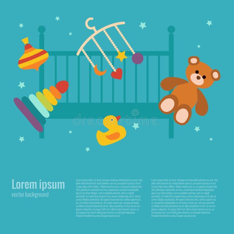 Concetto di cura del bambino con gli elementi del giocattolo illustrazione di stock