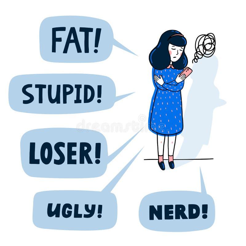 Concetto di cyberbullismo Adolescente che è oppresso dai messaggi di testo abusivi Illustrazione piana di vettore di stile royalty illustrazione gratis