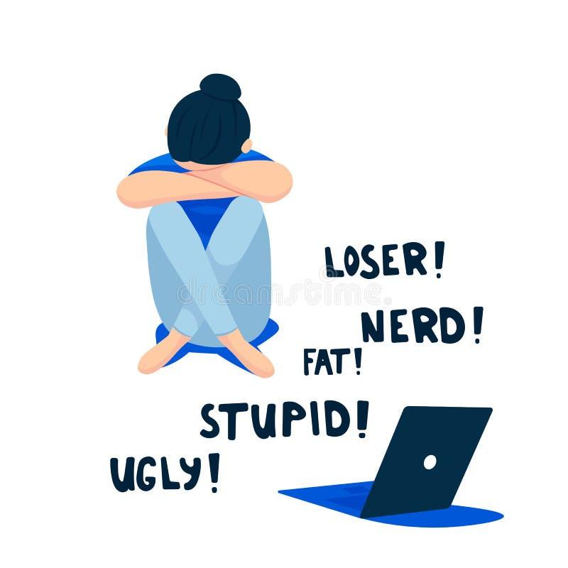 Concetto di cyberbullismo, adolescente triste davanti al computer portatile, illustrazione piana di vettore isolata su bianco royalty illustrazione gratis