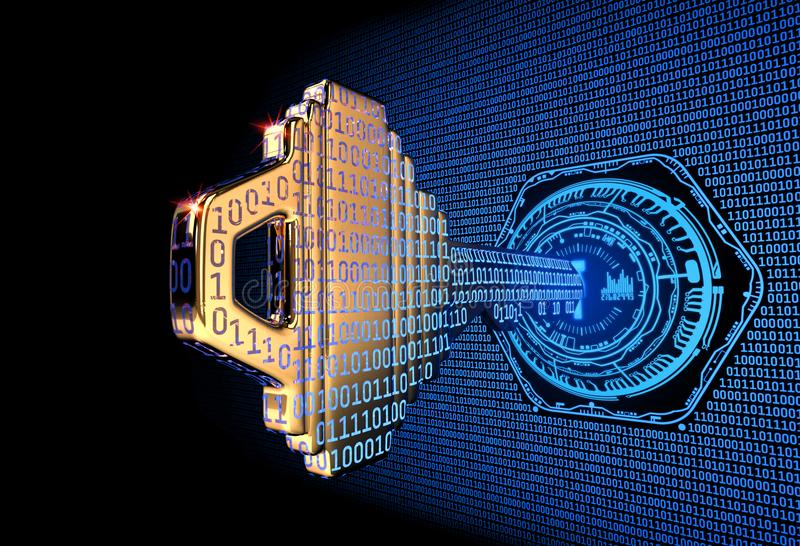 Concetto di Cybersecurity: 3d ha reso l'illustrazione di una chiave di codice binario royalty illustrazione gratis