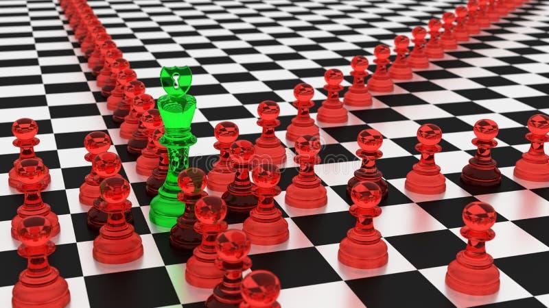 Concetto di cybersecurity di strategia del botnet di scacchi illustrazione di stock
