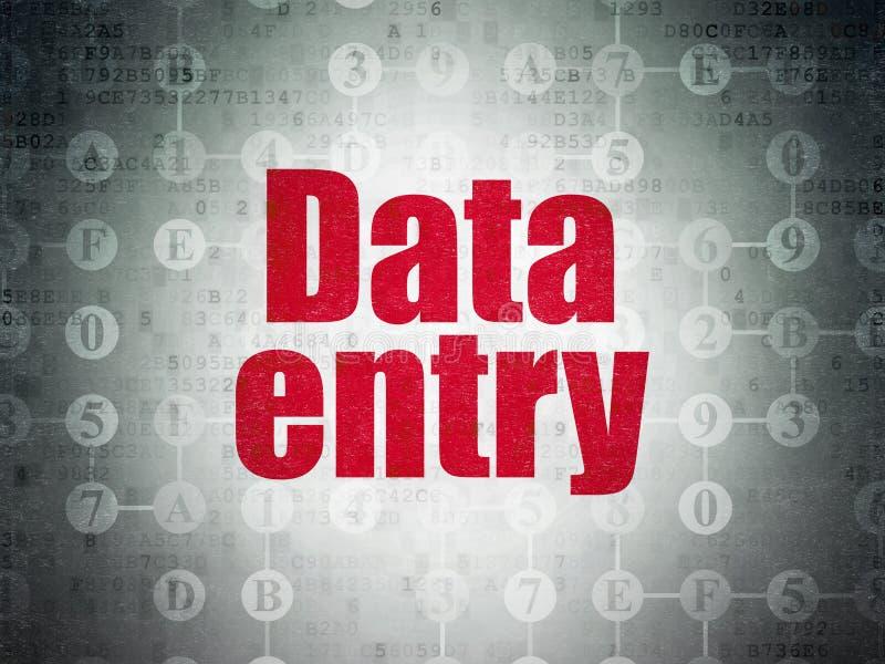 Concetto di dati: Entrata di dati sul fondo della carta di dati di Digital illustrazione di stock