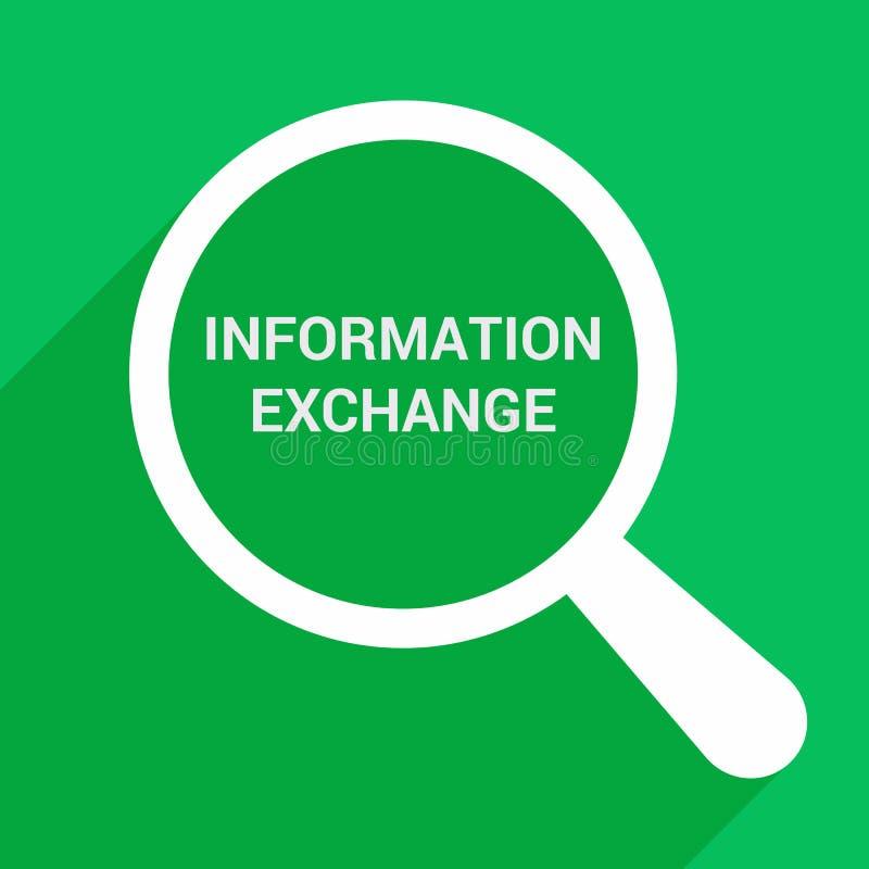 Concetto di dati: Vetro ottico d'ingrandimento con lo scambio di informazioni di parole royalty illustrazione gratis