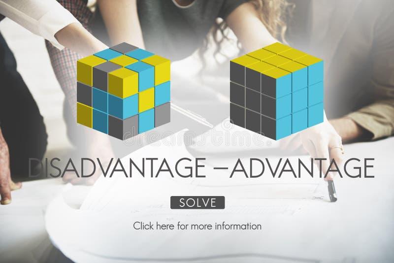 Concetto di decisione di confronto di vantaggio dello svantaggio immagine stock