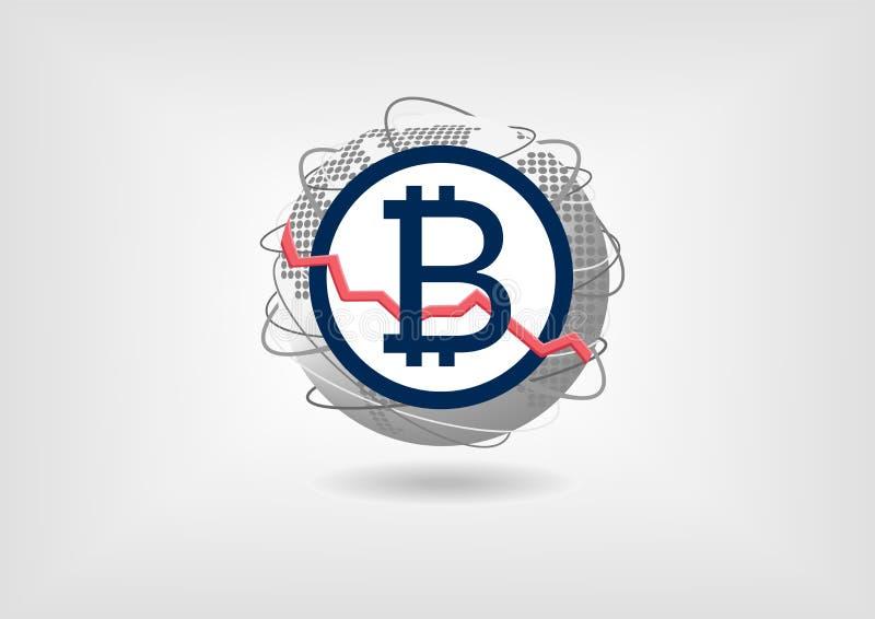 Concetto di declino di valuta di Bitcoin a titolo dimostrativo illustrazione vettoriale