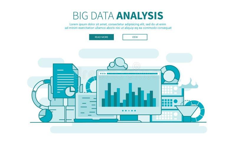 Concetto di design piatto per l'analisi dei grandi dati aziendali Vettore struttura piatta illustrazione vettoriale