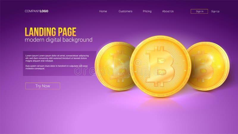 Concetto di Digital della pagina di atterraggio del sito Web Monete dorate del bitcoin, interfaccia di vettore Modello con la pen illustrazione di stock