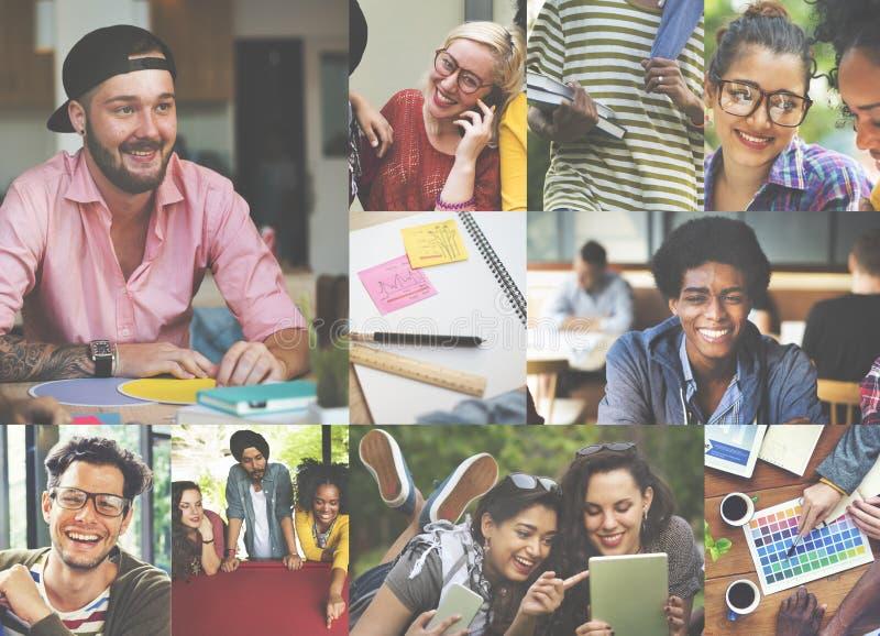 Concetto di Digital Devices Teamwork dello studente di college di diversità fotografia stock