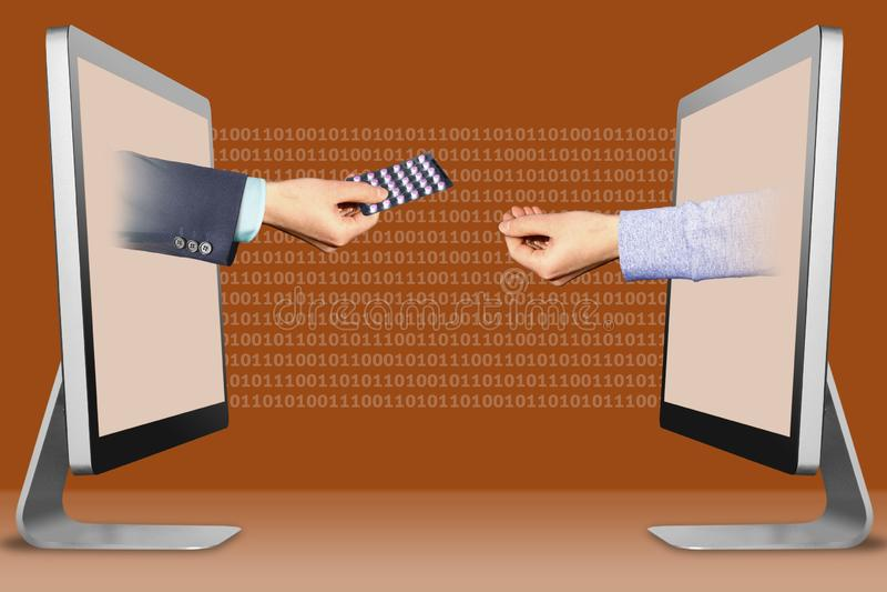 Concetto di Digital, due mani dai computer mano con le pillole della medicina ed il gesto di supplica illustrazione 3D immagine stock libera da diritti