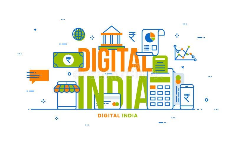 Concetto di Digital India con gli elementi finanziari illustrazione di stock