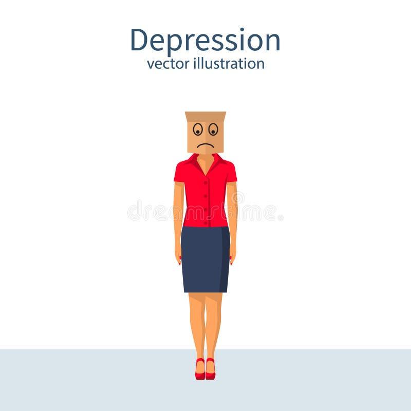 Concetto di Dipression con il sacco di carta sulla testa illustrazione vettoriale