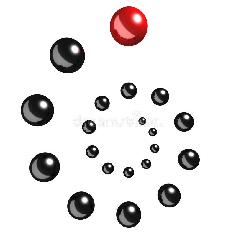 Concetto di direzione con il leader della squadra rosso della sfera illustrazione di stock