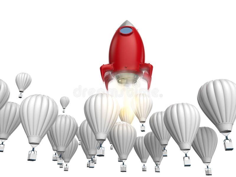 Concetto di direzione con il razzo rosso royalty illustrazione gratis