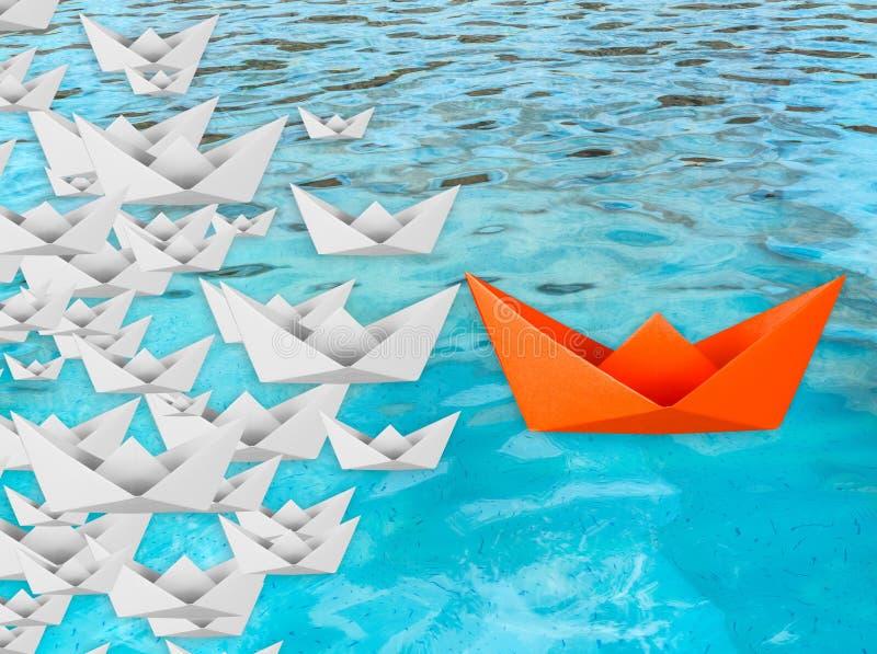 Concetto di direzione con la barca di carta illustrazione vettoriale