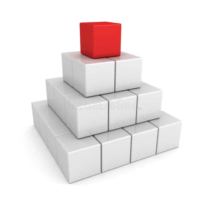Concetto di direzione con la guida bianca di colore rosso della piramide royalty illustrazione gratis
