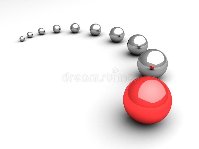 Concetto di direzione con la guida rossa della sfera su bianco illustrazione di stock