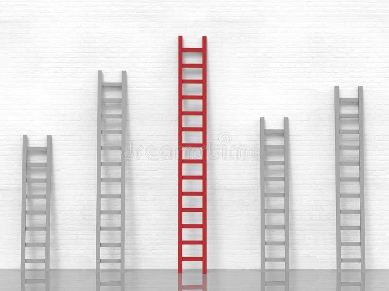 Concetto di direzione con la scala rossa royalty illustrazione gratis
