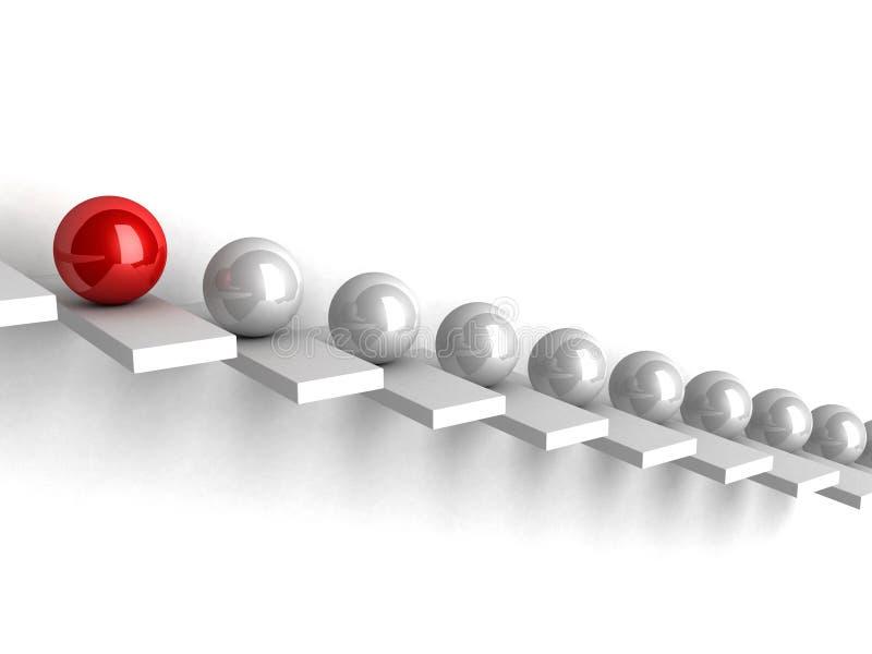 Concetto di direzione con le sfere sulla scaletta illustrazione vettoriale