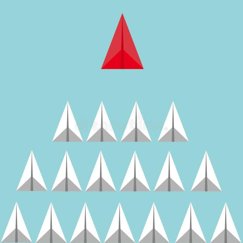 Concetto di direzione di affari con gli aeroplani bianchi conducenti piani di carta rossi illustrazione di stock