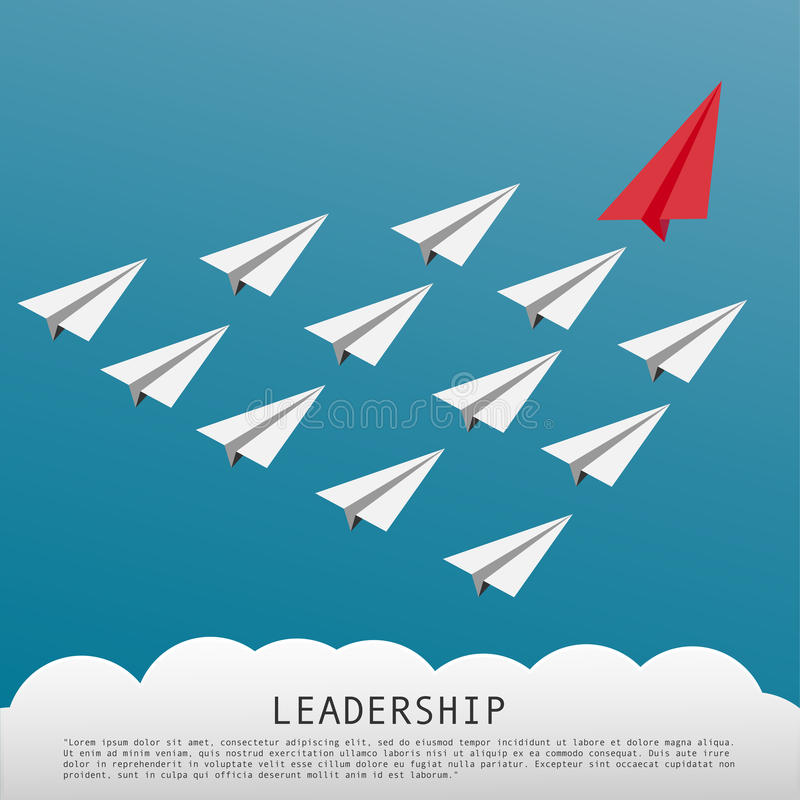 Concetto di direzione di affari con gli aeroplani bianchi conducenti piani di carta rossi illustrazione vettoriale