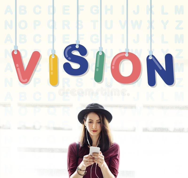 Concetto di direzione di aspirazione di motivazione di ispirazione di visione fotografia stock