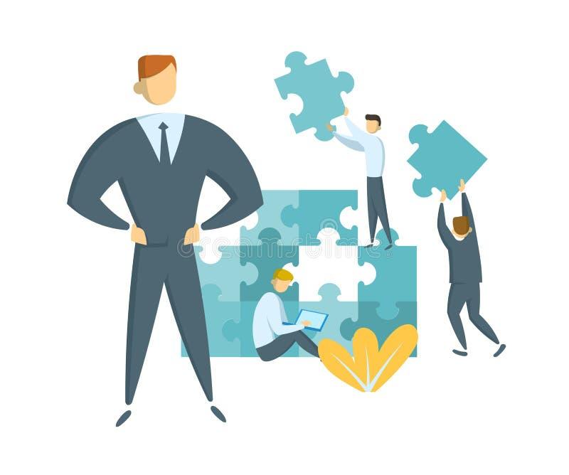 Concetto di direzione e di lavoro di squadra Capo che guida il suo gruppo verso successo Uomini d'affari con i pezzi giganti di p illustrazione di stock