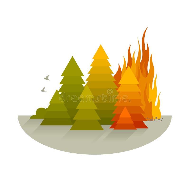 Concetto di disastro di incendio violento illustrazione di stock