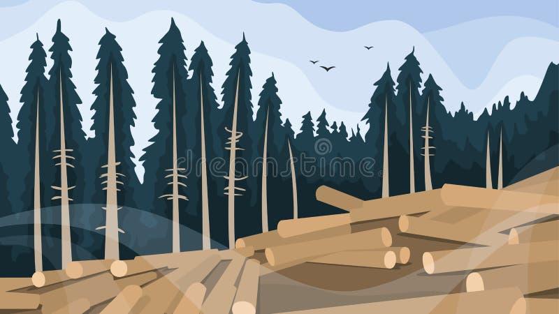 Concetto di disboscamento Spezzettamento della foresta a pezzi, distruzione di legno illustrazione di stock