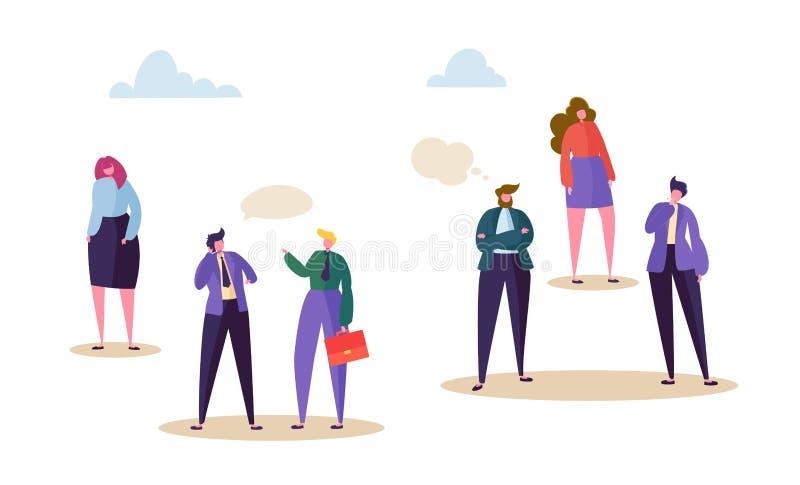Concetto di distinzione di diritto dell'uomo Soggiorno del carattere della donna oltre all'uomo di conversazione Comunicazione ne royalty illustrazione gratis