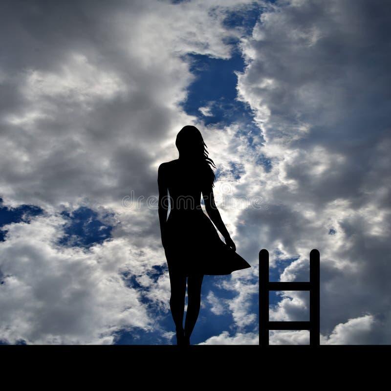 Concetto di disturbo depressivo e di suicidio con la siluetta della donna royalty illustrazione gratis
